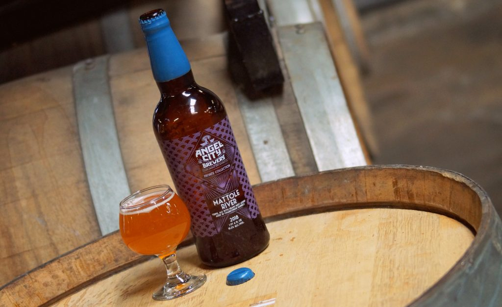 Angel City Brewery Mattole River; Beer aged in California Chardonnay Casks
