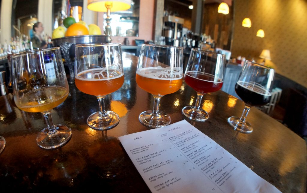 Beer Flight at Band of Bohemia in Chicago, the first Brew Pub to earn a Michelin Star