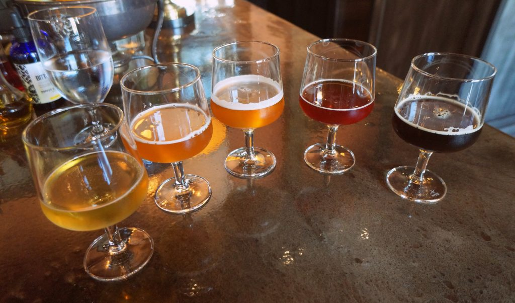 Flight of beer at the fist brewpub to earn a Michelin Star