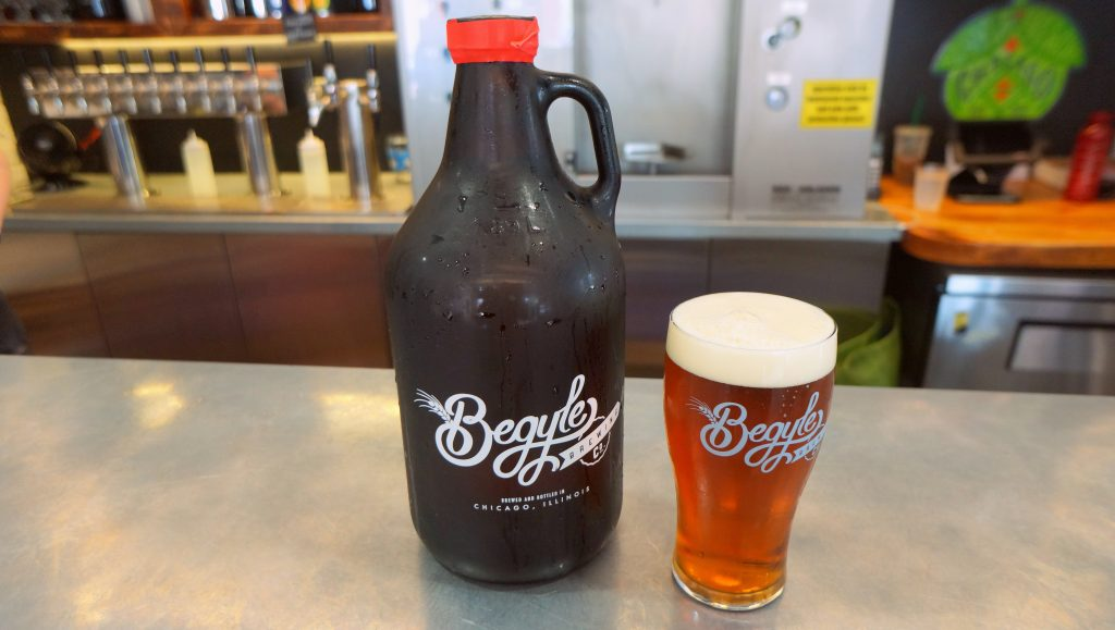 Growler and Pint of Beer and Begyle Brewing Company in Chicago