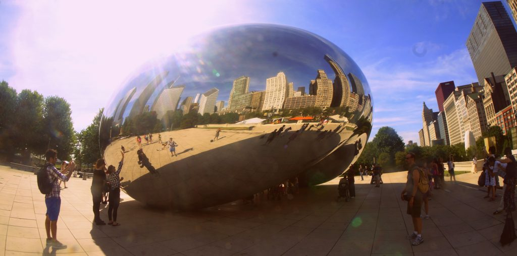 Tourists by Cloud Gate in Chicago