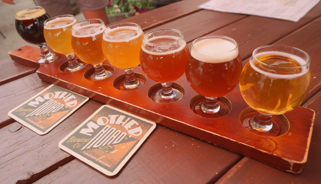 Flight of Beer at Mother Road Brewing Company in Flagstaff Arizona