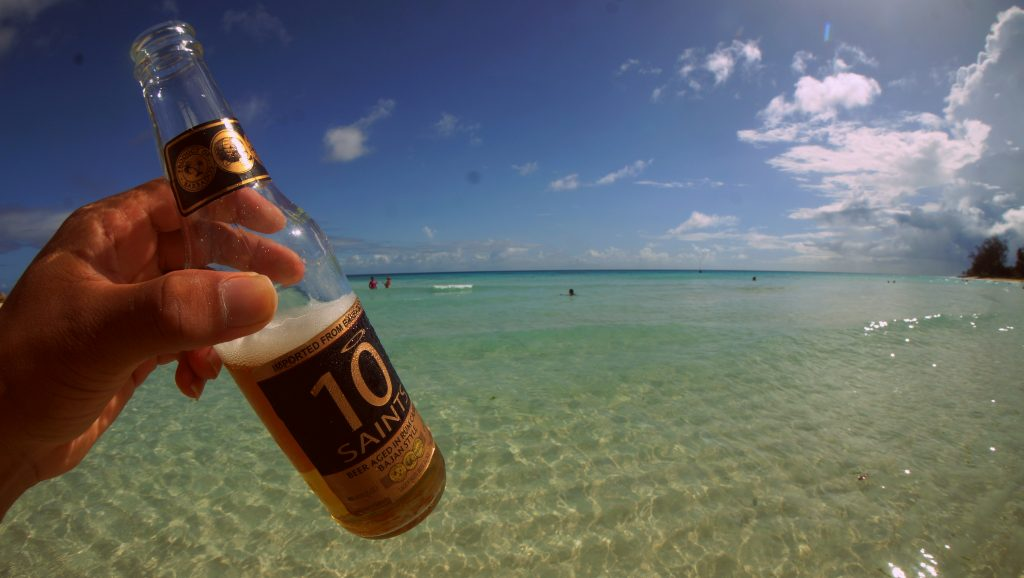 Beer by the beach in Barbados