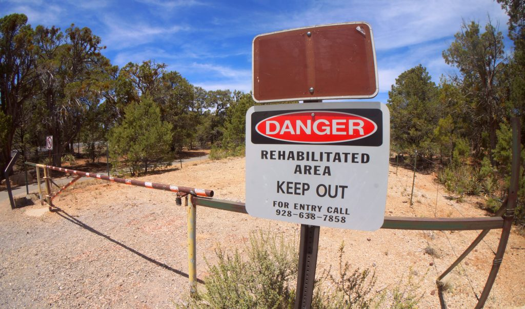 Caution Sign at the Orphan Lode Mine in the Grand Canyon