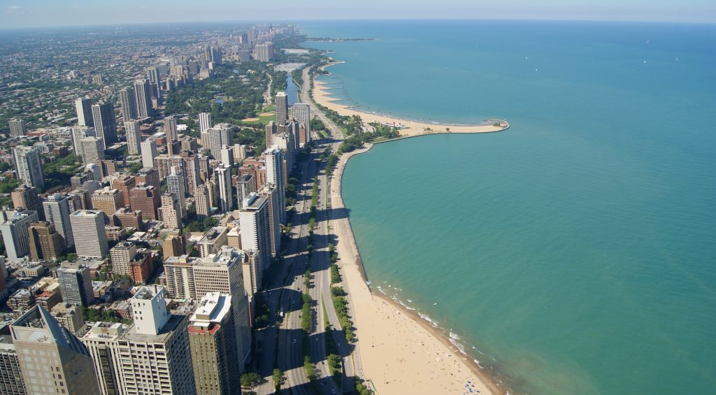 Aerial view of Chicago and Lake Michegan