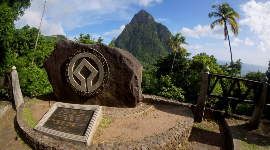 UNESCO World Heritage Site sign for the Pitons in Saint Lucia