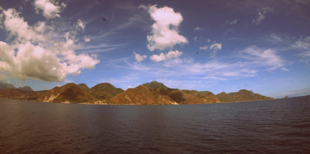 View of Dominica from the Caribbean Sea