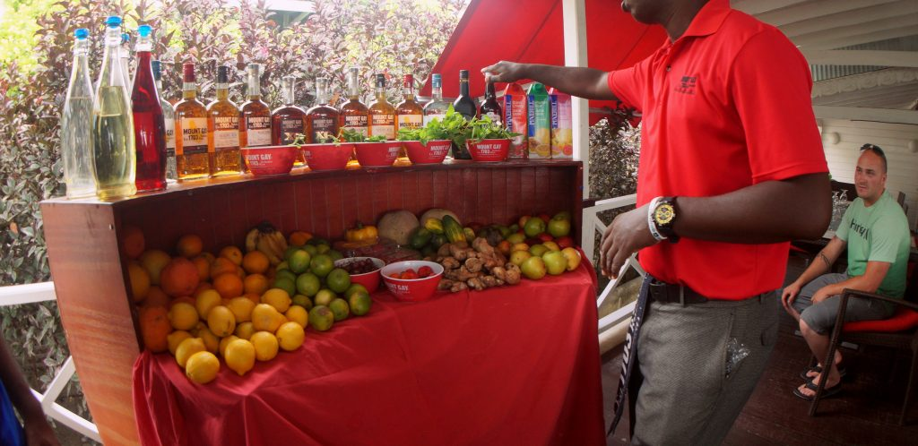 Mount Gay Rum, fresh fruit and Falernum at the Mount Gay Visitors Center in Barbados