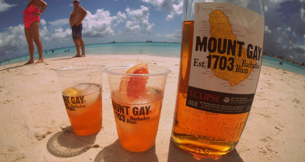 Mount Gay Eclipse on a Beach in Barbados